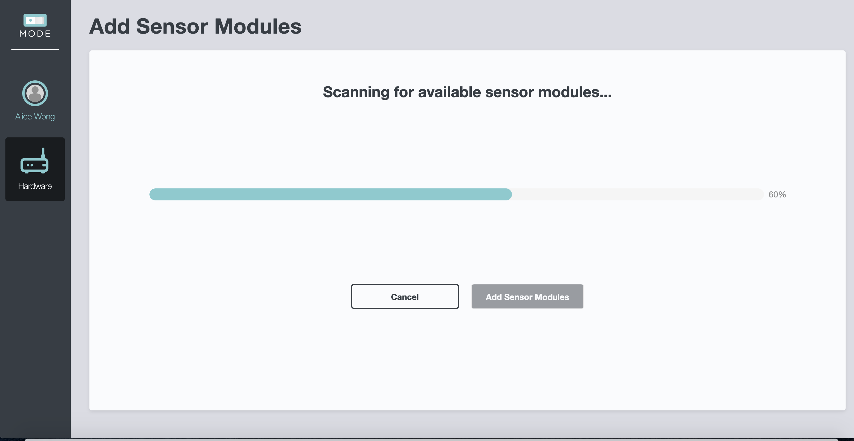 Screenshot - SC Eval Scanning for Sensors Progress
